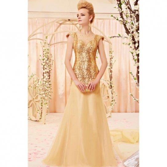 Robe de soirée dorée en tulle